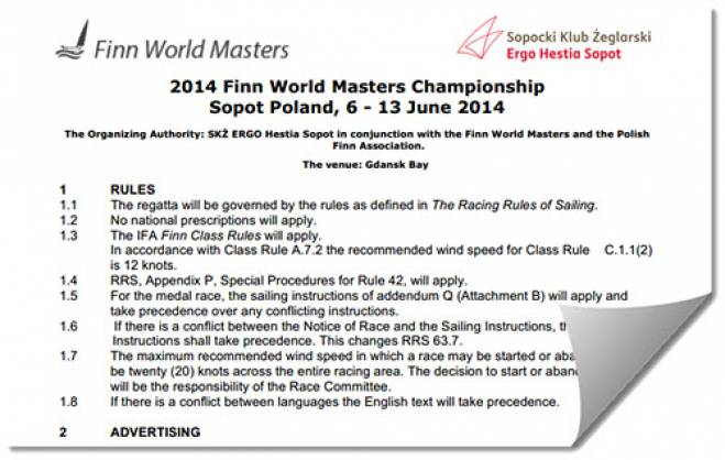 Sopot 2014 World Masters - Notice of Race